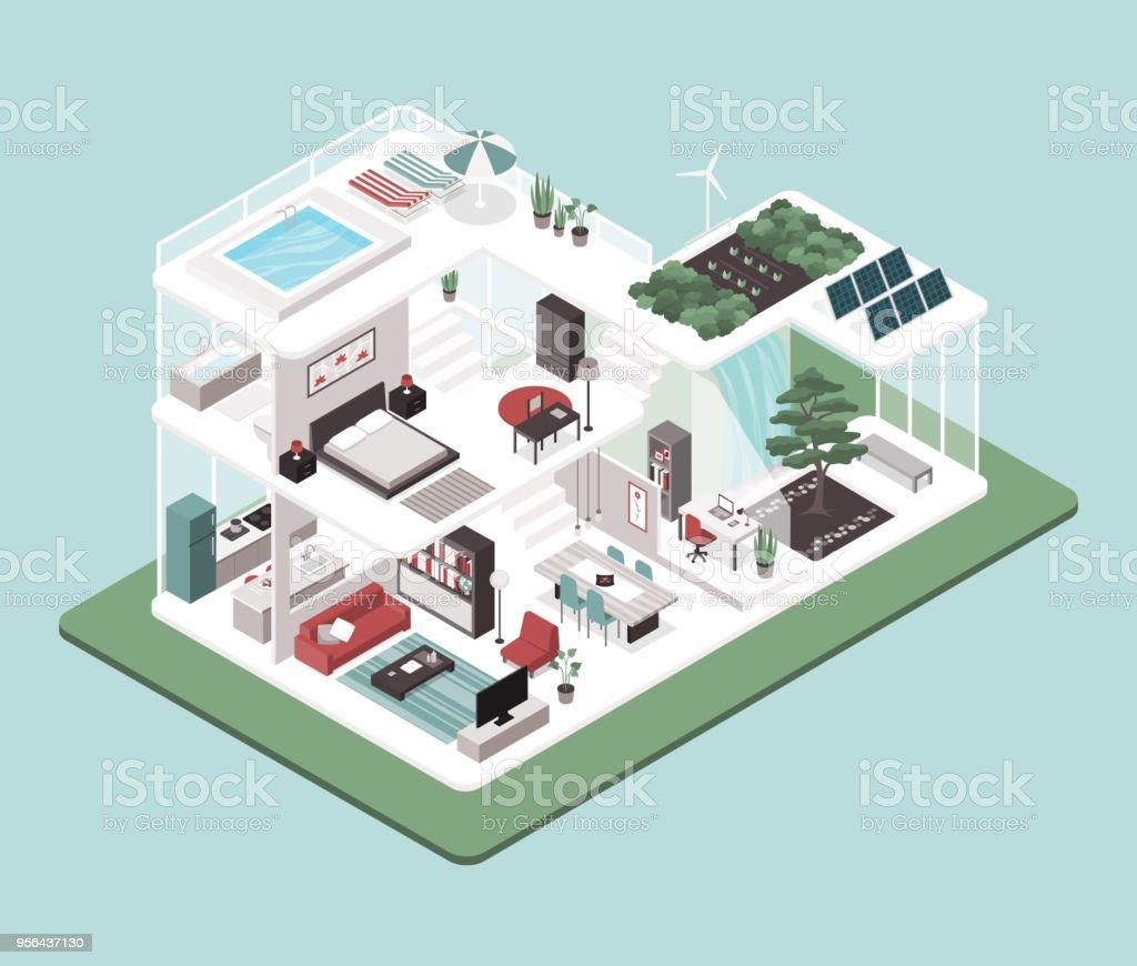 Moderne Energie Effiziente Haus Innenräume Stock Vektor Art und mehr ...