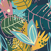 istock Contemporary exotic floral seamless pattern. Creative tropical hand drawn textures. 1204445243