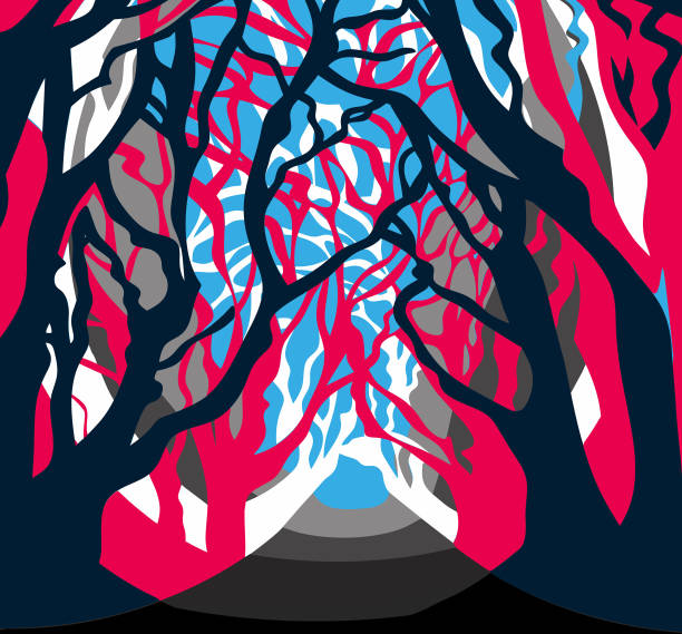 Contemporary forest, trees alley vector vector art illustration