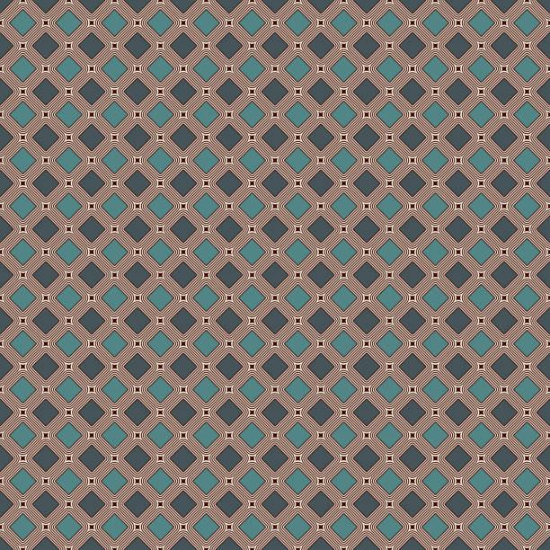 zeitgenössische geometrische muster. wiederholte quadrate, diamanten motiv. einfache ornament. moderner abstrakter hintergrund. nahtloses oberflächendesign. geo-wallpaper. digitales papier, textildruck. vektorkunst - rankgitter stock-grafiken, -clipart, -cartoons und -symbole