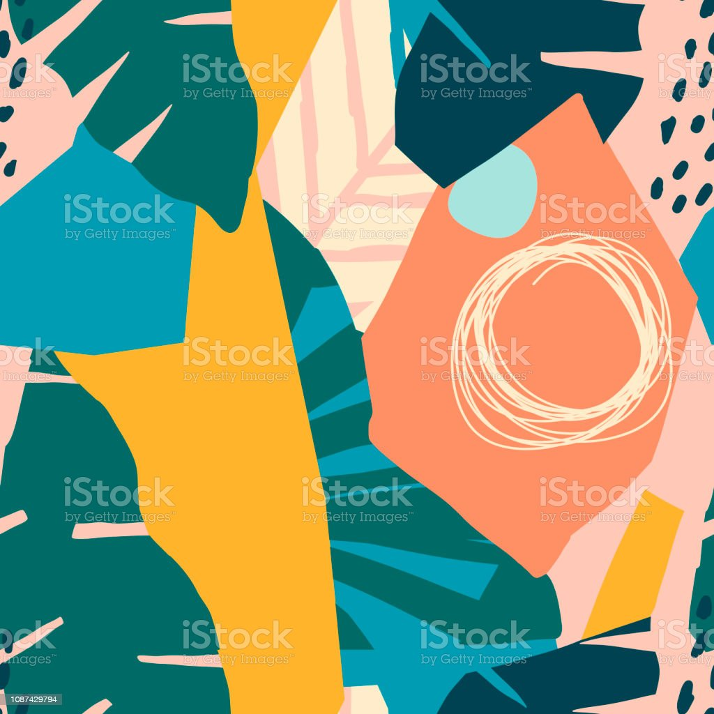 Contemporary hawaiian seamless pattern with floral collage. Modern exotic jungle fruits and plants illustration in vector. royalty-free contemporary hawaiian seamless pattern with floral collage modern exotic jungle fruits and plants illustration in vector stock illustration - download image now