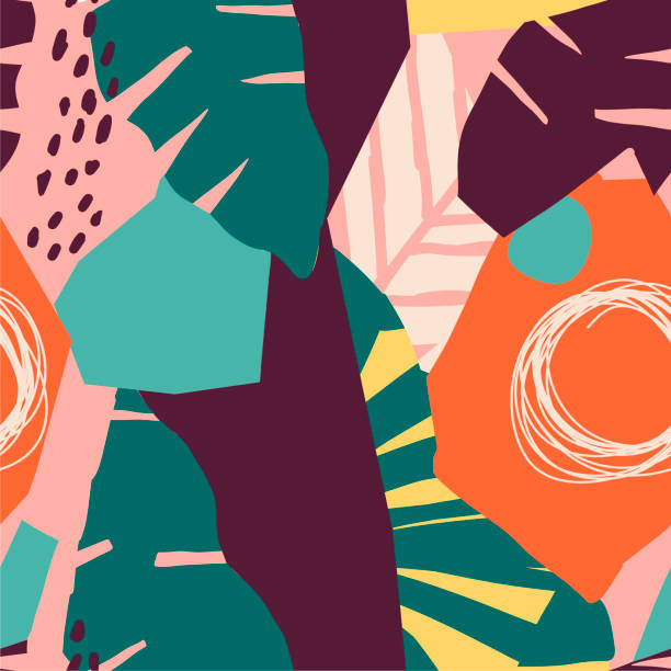 Contemporary hawaiian seamless pattern with floral collage Modern exotic jungle fruits and plants illustration in vector. living organism stock illustrations