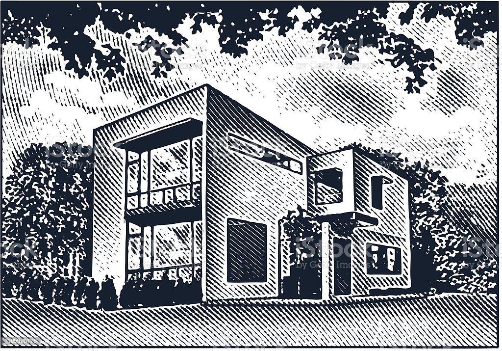 Contemporary Home Exterior royalty-free stock vector art