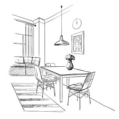 Contemporary kitchen modern interior.