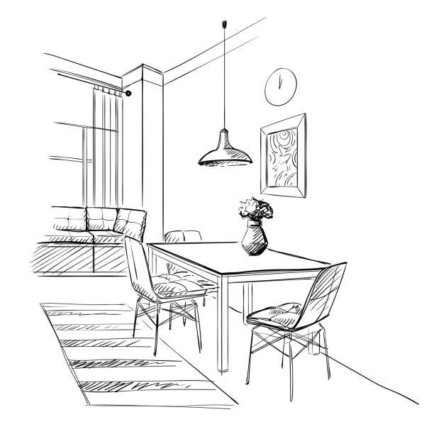 illustrazioni stock, clip art, cartoni animati e icone di tendenza di contemporary kitchen modern interior. - kitchen room