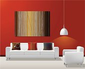 Vector illustration of modern living room and original artwork.