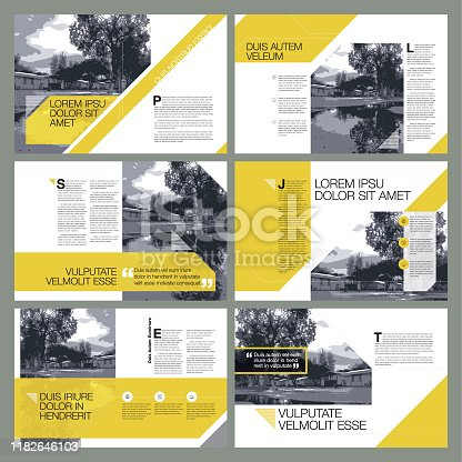A set of 6 contemporary page layout designs.