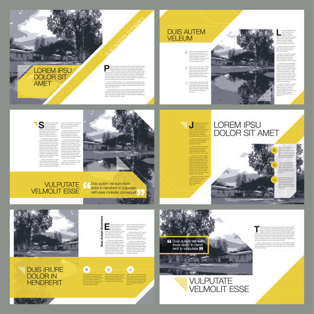 contemporary page layout designs - annual reports templates stock illustrations