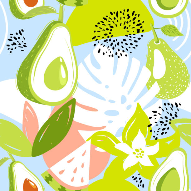 Contemporary seamless pattern with avocado fruits, watermelon, leaves and abstract elements. Contemporary seamless pattern with avocado fruits, watermelon, leaves and abstract elements. Creative floral collage. Vector texture for textile, wrapping paper, scrapbooking, packaging etc. Vector illustration. avocado patterns stock illustrations