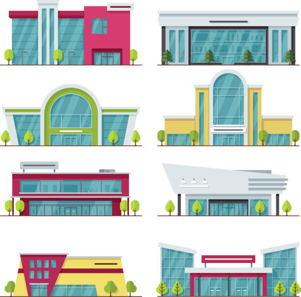 ilustrações, clipart, desenhos animados e ícones de contemporâneo de shopping e edifícios de armazenamento do vetor ícones - shopping