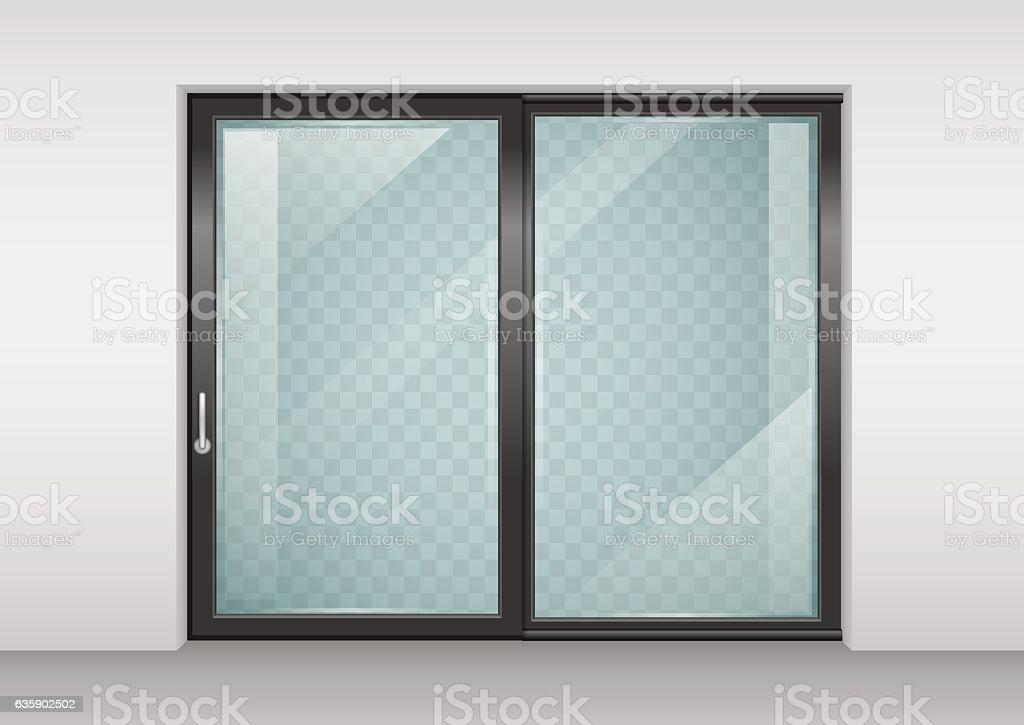 Contemporary sliding door vector art illustration