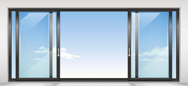 Contemporary sliding door Modern wide sliding door with transparent glass. Vector graphics. The interior of the room. front stoop stock illustrations