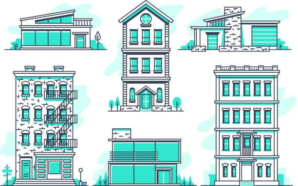 illustrazioni stock, clip art, cartoni animati e icone di tendenza di contemporary urban and suburban houses line icons set. real estate outline symbols - real life
