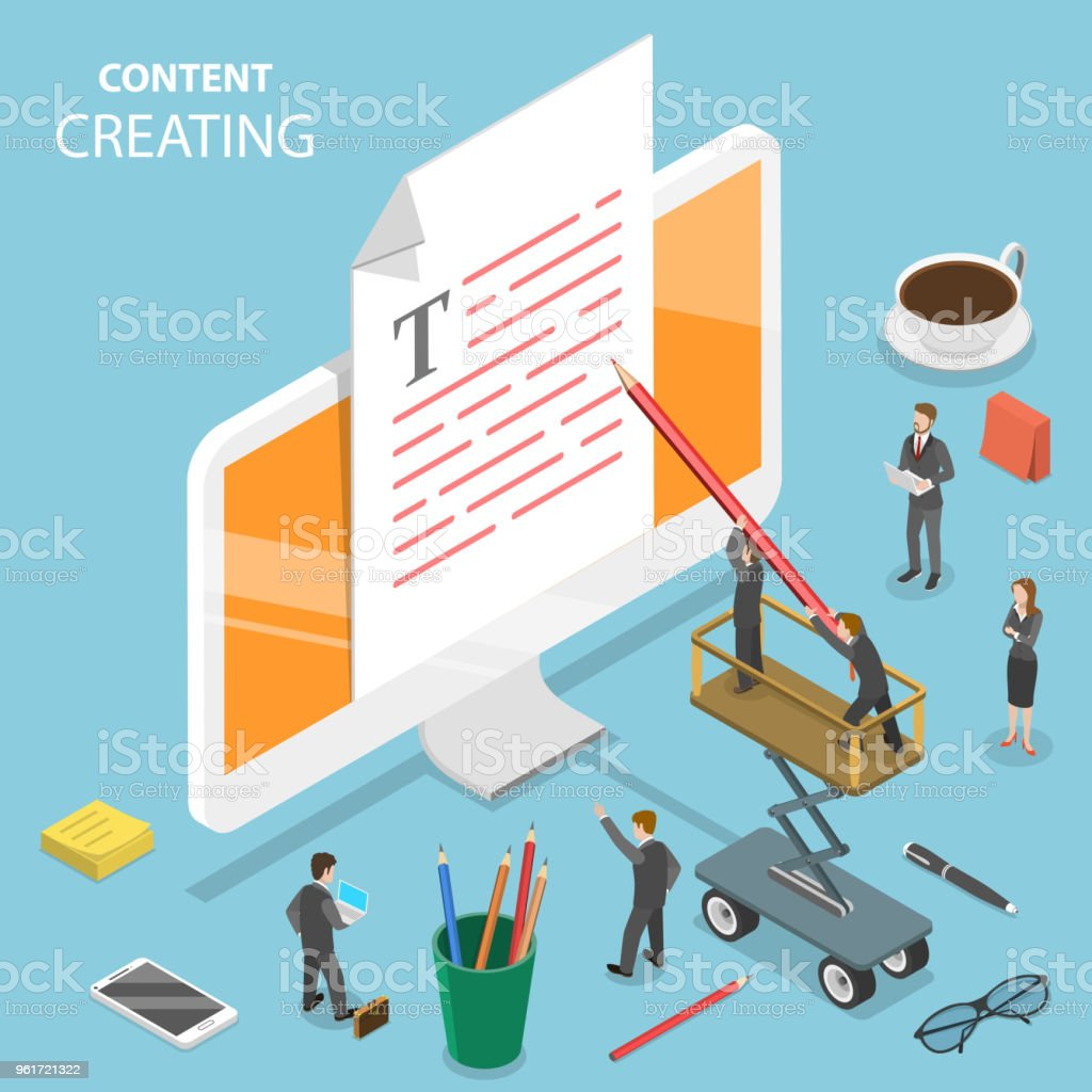 Content creating flat isometric vector concept. vector art illustration