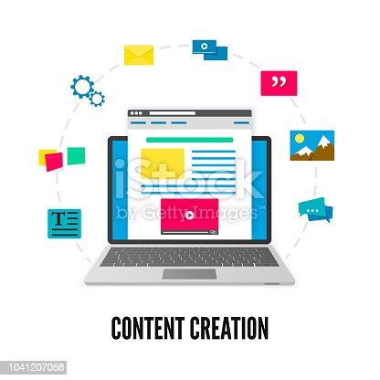 Content creation concept. Laptop with website on screen and elements of development. Social media and blogging. Vector illustration isolated on white background