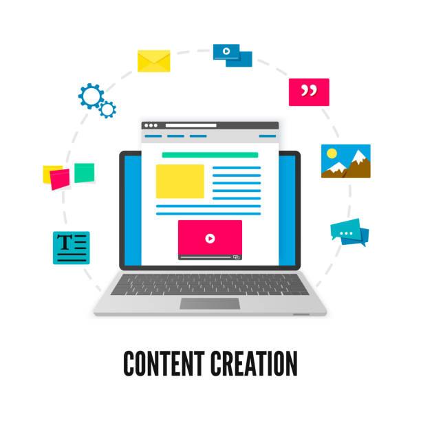 stockillustraties, clipart, cartoons en iconen met content creatie concept. laptop met website op scherm en elementen van ontwikkeling. social media en bloggen. vectorillustratie geïsoleerd op witte achtergrond - schepping