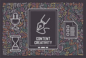 Content creativity outline icon designs with doodle like background. This artwork would be perfect for page layouts, cards, banners or invitations.