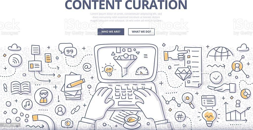 Content Curation Doodle Concept vector art illustration