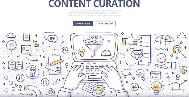 content curation doodle concept - curate stock illustrations