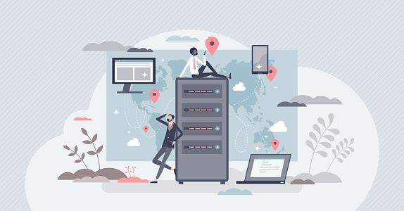 CDN content delivery network as information distribution tiny person concept. Global server connection for website performance vector illustration. Wireless database optimization for fast browsing.