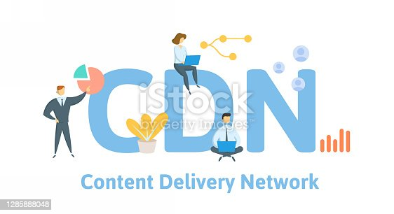 CDN, Content Delivery Network. Concept with keywords, people and icons. Flat vector illustration. Isolated on white background.