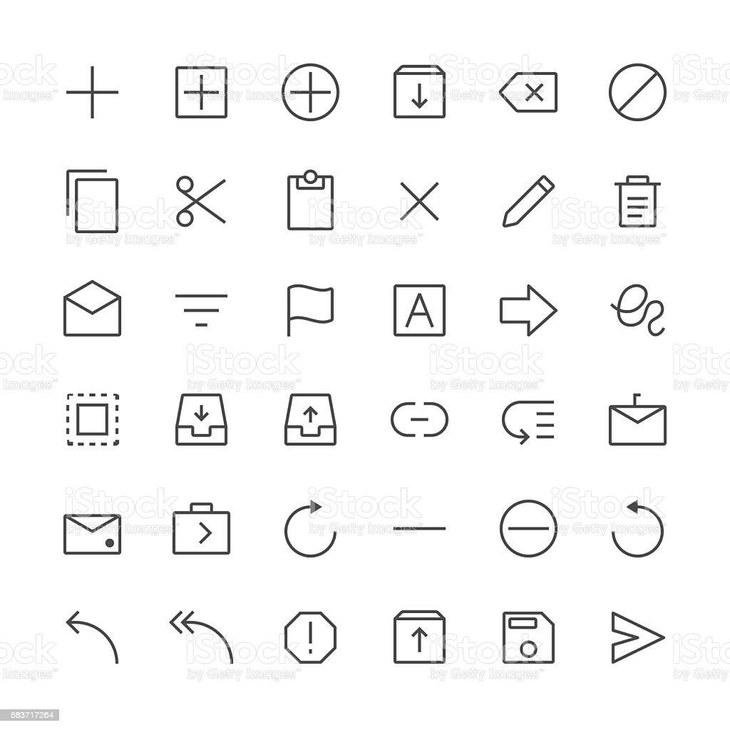 Content icons set 1 | Thin Line series vector art illustration