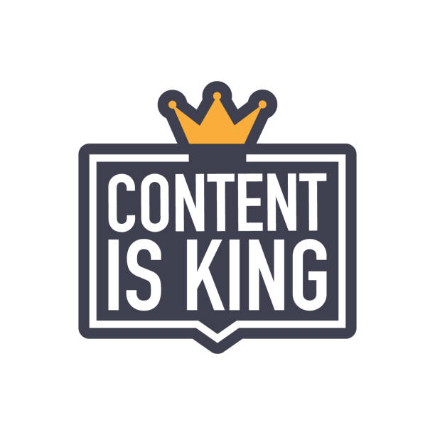 content is king, flat icon, badge on white background. vector illustration. - contented emotion stock illustrations