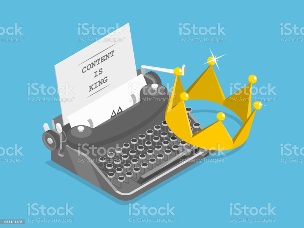 Content is king flat isometric vector concept. vector art illustration