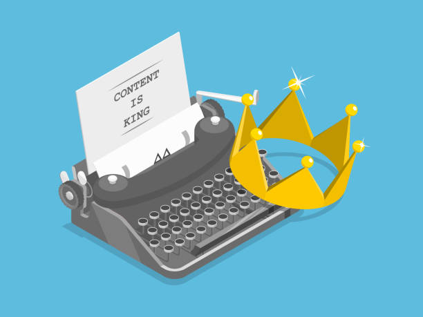 content is king flat isometric vector concept. - contented emotion stock illustrations