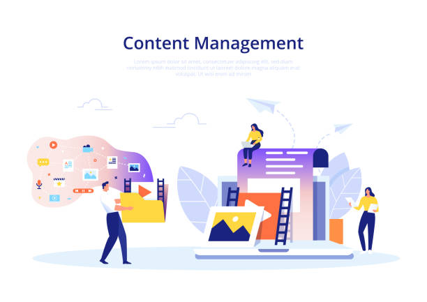 Content Management concept in flat design. Creating, marketing and sharing of digital - vector illustration. Content Management, SMM and Blogging concept in flat design. Creating, marketing and sharing of digital - vector illustration. publication stock illustrations