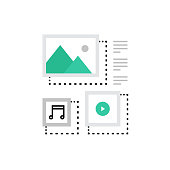 Modern vector icon of content management system, blogging and multimedia files. Premium quality vector illustration concept. Flat line icon symbol. Flat design image isolated on white background.