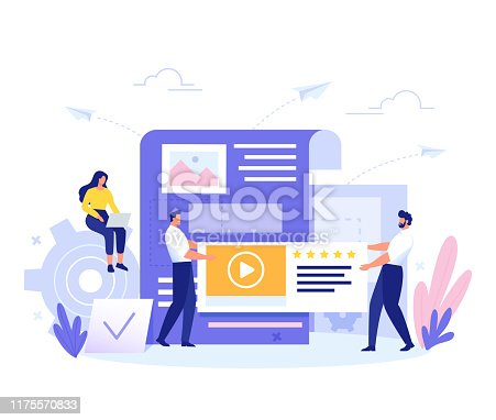 istock Content Management, SMM and Blogging concept in flat design. Creating, marketing and sharing of digital - vector illustration. 1175570833