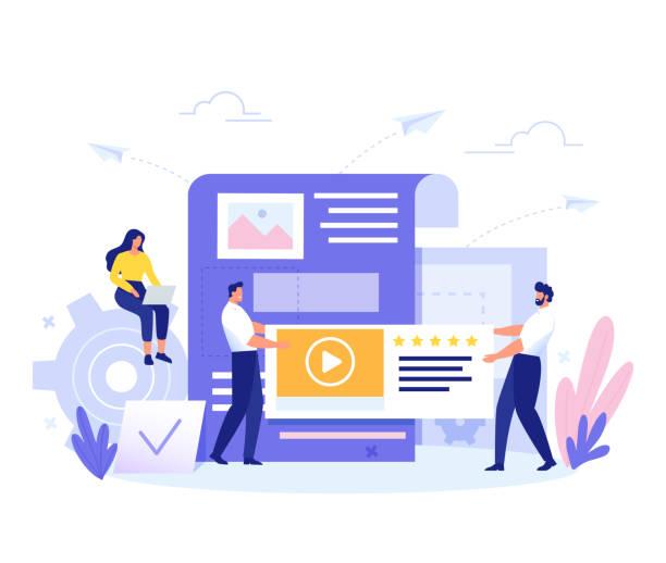 stockillustraties, clipart, cartoons en iconen met content management, smm en bloggen concept in plat ontwerp. creatie, marketing en delen van digitale-vector illustratie. - bloggen