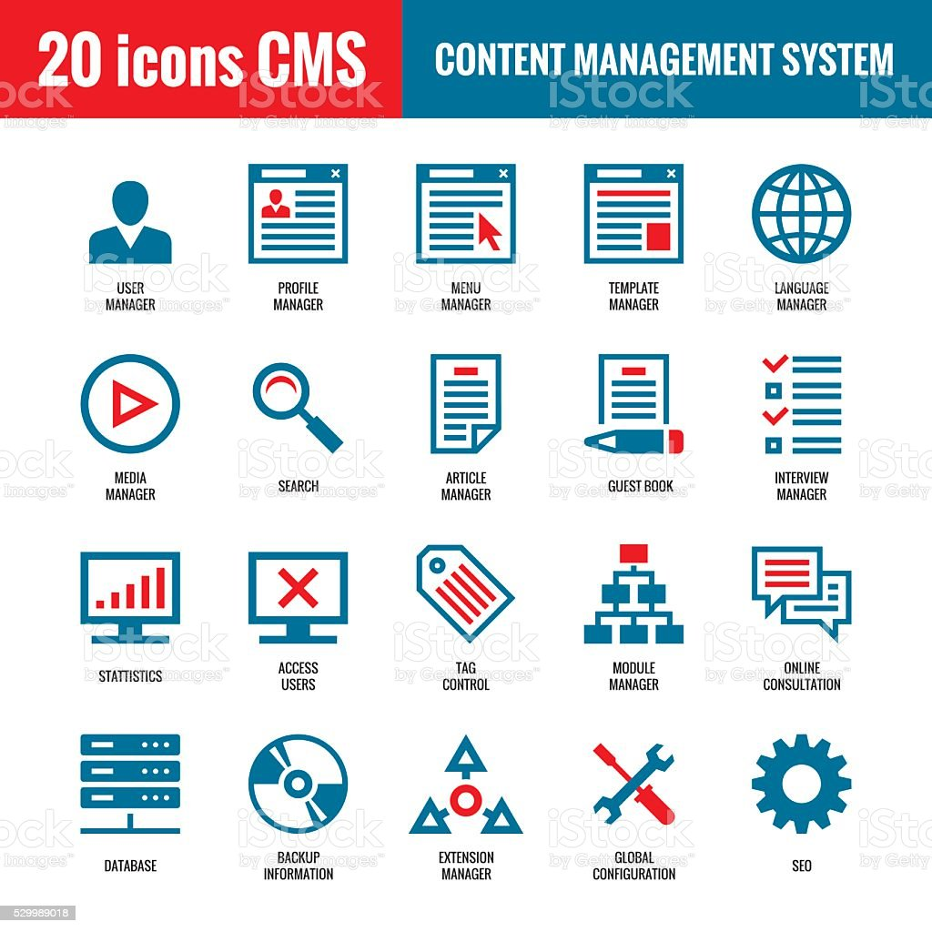 CMS - Content Management System - 20 vector icons vector art illustration