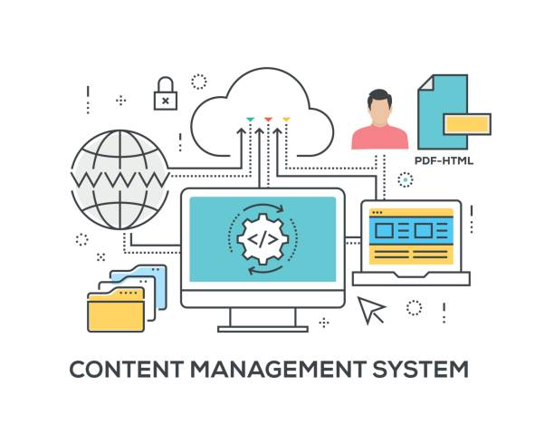 Content Management System Concept with icons Content Management System Concept with icons origins stock illustrations
