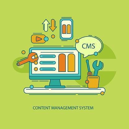 Content management system illustration Vector illustration