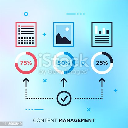Content management system outline vector concept with mono stroke graphic design. Premium quality illustration can be used for web, mobile banners and infographic design.