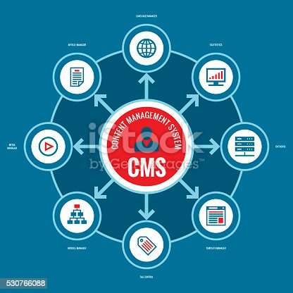 CMS - Content Management System. Business infographic concept vector layout with icons.