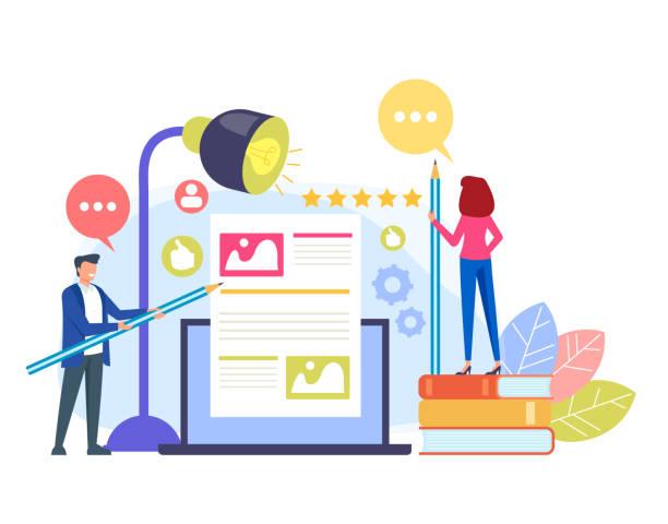Content Management Teamwork-Konzept. Vektor flache Cartoon Grafik-Design-Illustration – Vektorgrafik