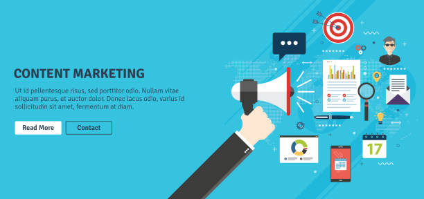 content marketing and digital content promotion. - contented emotion stock illustrations