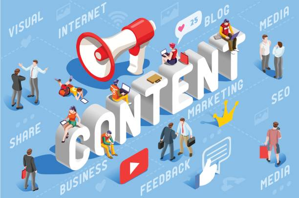 content marketing business concept vector - contented emotion stock illustrations