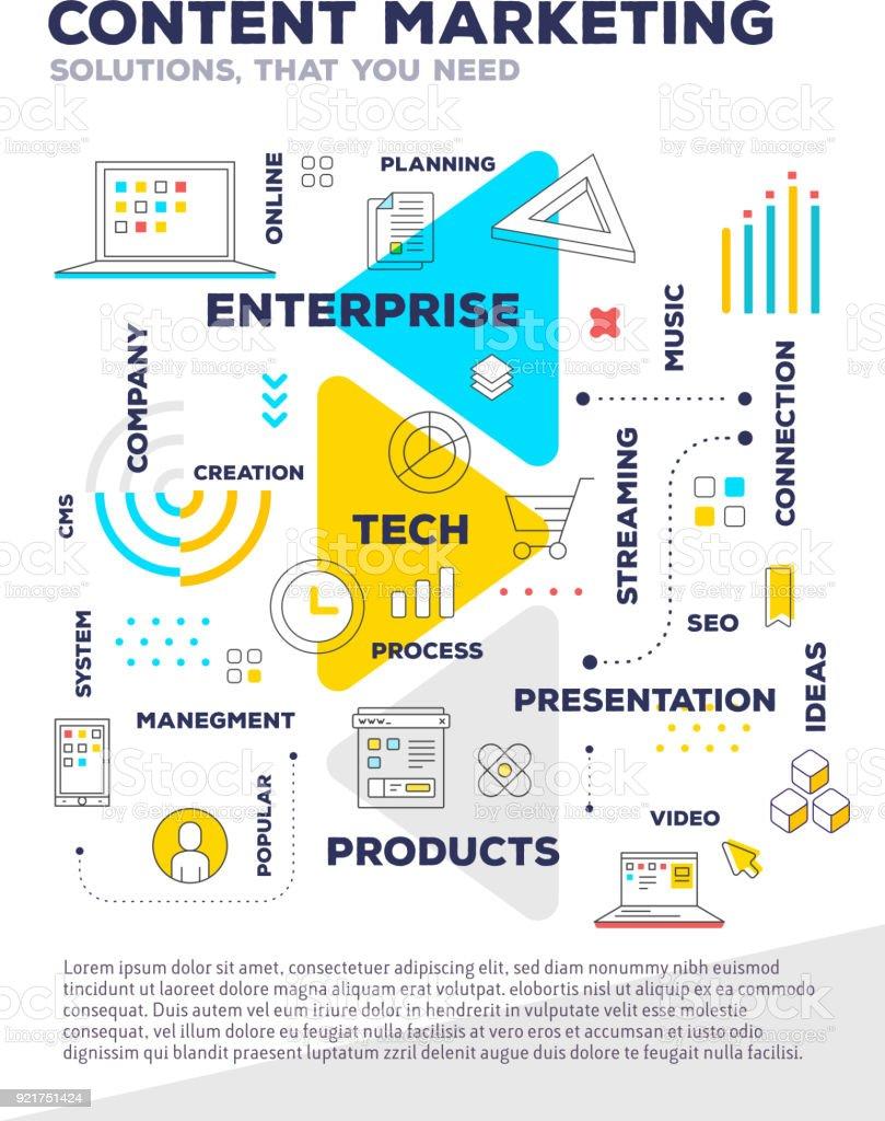 Content Marketing Concept Vector Creative Bright ...