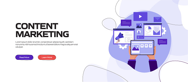Content Marketing Concept Vector Illustration for Website Banner, Advertisement and Marketing Material, Online Advertising, Business Presentation etc.