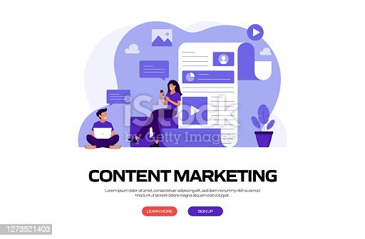 istock Content Marketing Concept Vector Illustration for Website Banner, Advertisement and Marketing Material, Online Advertising, Business Presentation etc. 1273521403