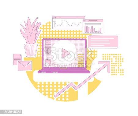 istock Content marketing thin line concept vector illustration. Modern advertising business 2D cartoon composition for web design. Online promotion, customer base development, sales growth creative idea 1303545387
