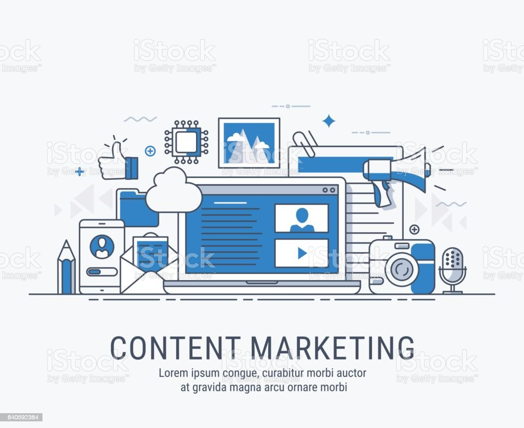 Content marketing vector art illustration