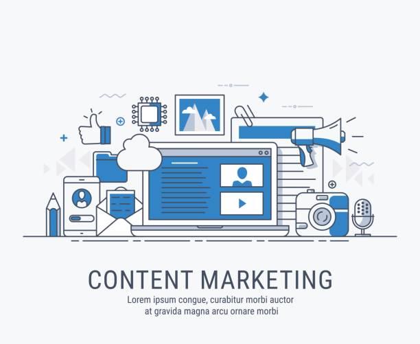illustrations, cliparts, dessins animés et icônes de marketing de contenu - marketing