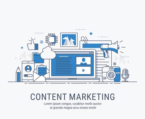 content marketing - marketing stock illustrations