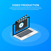 Content production, development, article writing, video. Video production. Vector stock illustration.