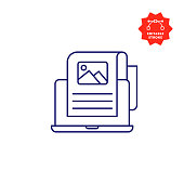 Content Single Line Icon with Editable Stroke and Pixel Perfect.